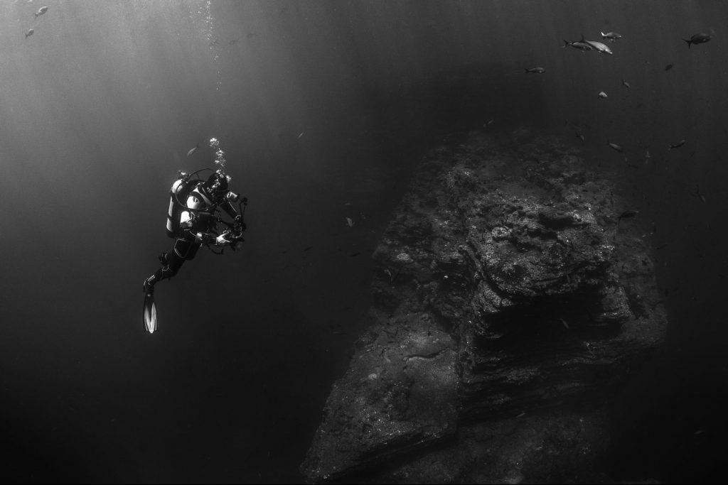 Diver Taking Photographs Underwater