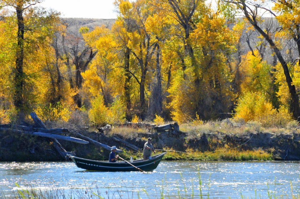Men on a Boat Fishing in Fall